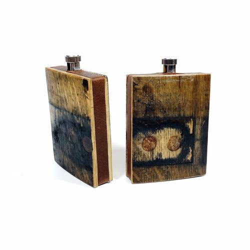 Reclaimed Bourbon Barrel Wood Flask