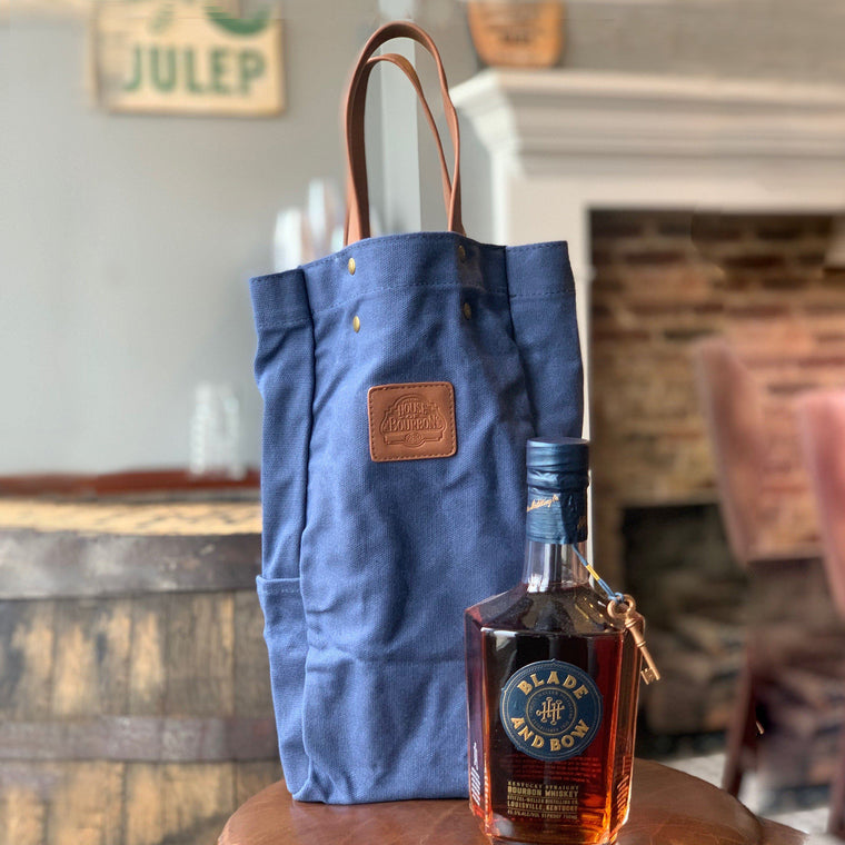 Blue Waxed Canvas and Leather Tote Bag