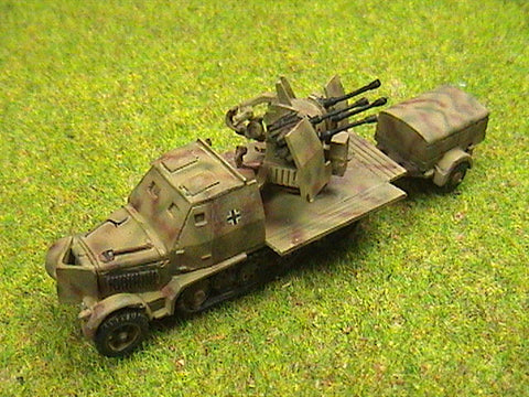 G882 Sd Kfz 7 / 1 Flakvierling 4 x 20mm Quad and trailer Armoured version.