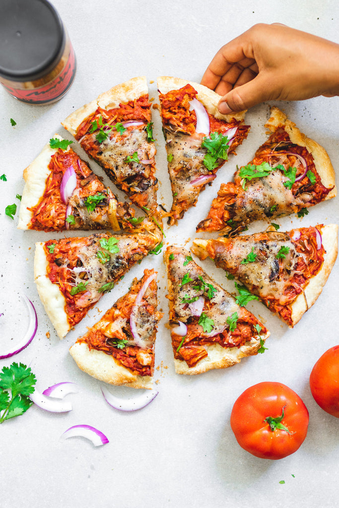 Push button for Peanut Butter & BBQ Jackfruit Pizza (Vegan)