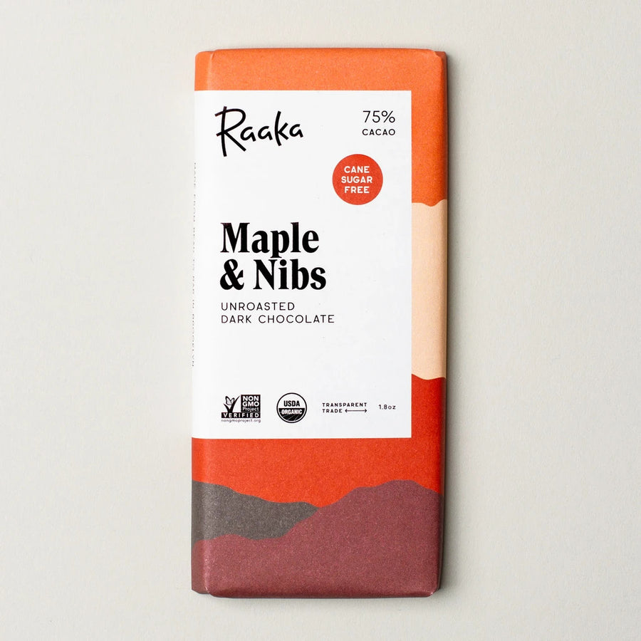 photo of raaka chocoalte Maple & nibs