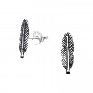 Feather Sterling Silver Stud Earrings