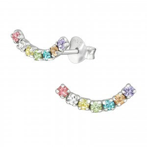Rainbow Curve Sterling Silver Stud Earrings