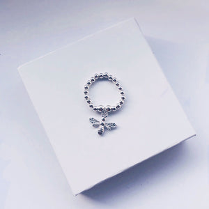 Sterling Silver Bee Charm Ring