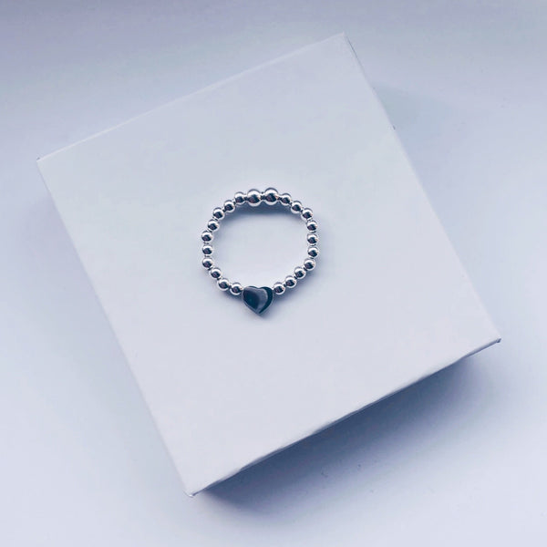Heart Bead Charm Sterling Silver Ring