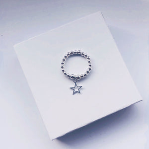 Sterling Silver Open Star Charm Ring