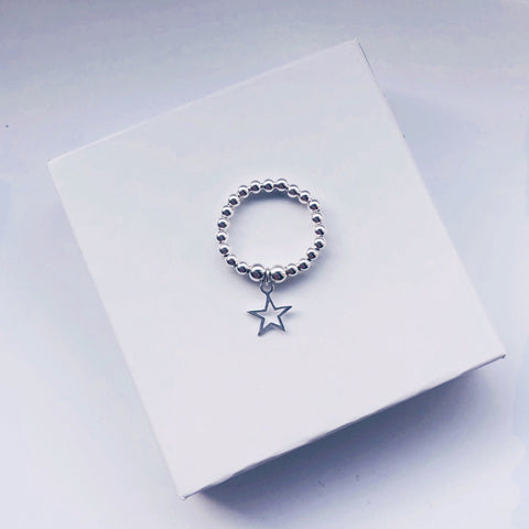 Open Star Charm Sterling Silver Ring