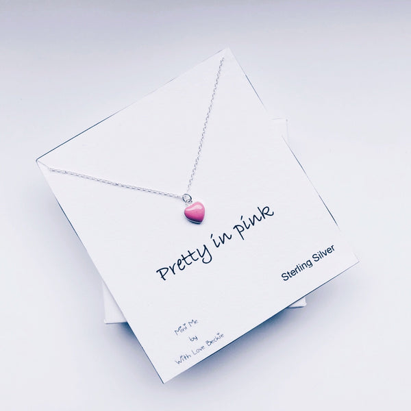 Children's Sterling Silver 'Pretty In Pink' Heart Necklace