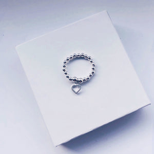 Heart Charm Sterling Silver Ring