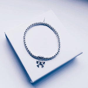 Children's Sterling Silver Bow Charm Bracelet