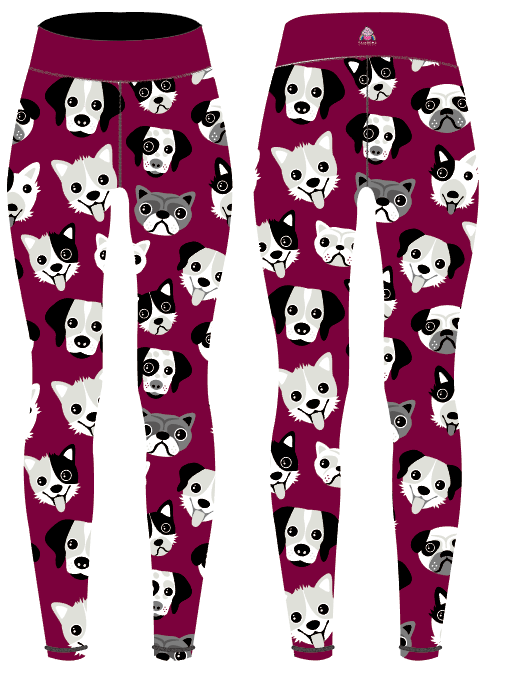 Burgundy Dogs Capri Women's Activewear Leggings