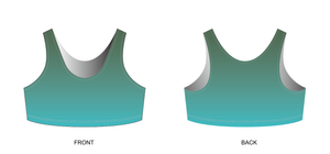 Sage/Turquoise Ombre Sports Bra (NEW STYLE - HIGH NECK)