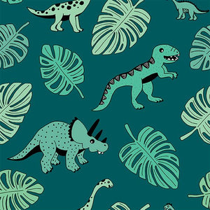 Dino & Monstera Leaf Women's Cotton Jersey Leggings - PLEASE READ BEFORE ORDERING