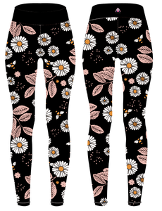 "Black Daisies Women's Activewear Leggings - Capri 21"" inside leg - PLEASE READ BEFORE ORDERING"