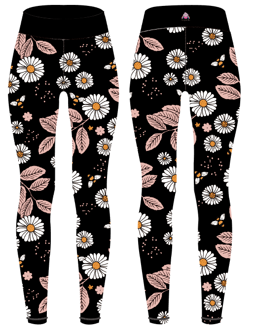 Black Daisies Women's Activewear Leggings - Capri 21