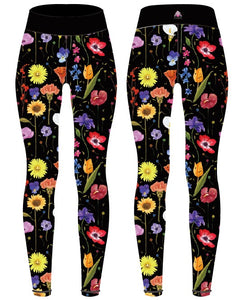 Happy Flowers (with faces) Capri Women's Activewear Leggings - PLEASE READ BEFORE ORDERING