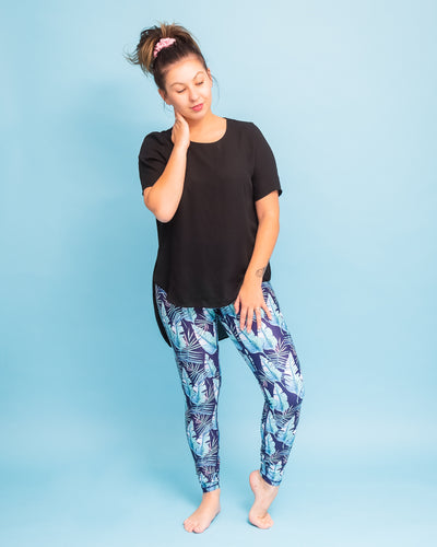 "Tropical Leaves Activewear Leggings - Tall 33"" inside leg"