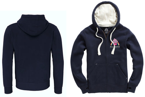 Women's Navy Rainbows & Sprinkles Zip Up Hoodie (no logo on back) - PLEASE READ BEFORE ORDERING