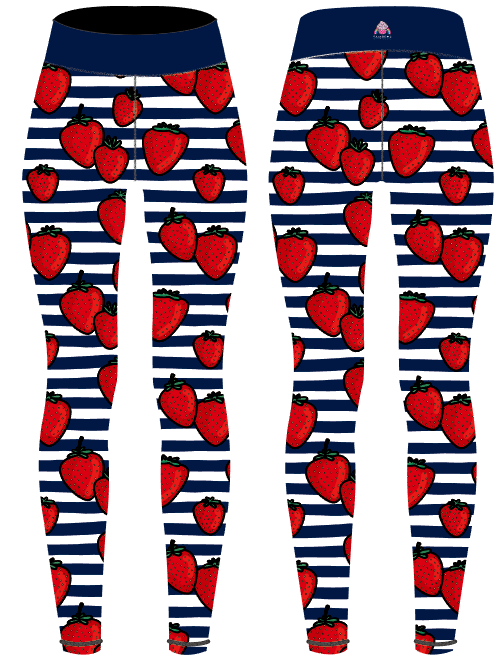 Strawberry & Stripes Capri Women's Activewear Leggings - PLEASE READ BEFORE ORDERING