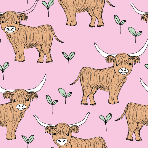 Pink Highland Cow Short Dungarees