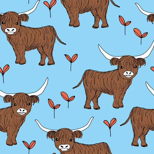 Blue Highland Cow Short Dungarees