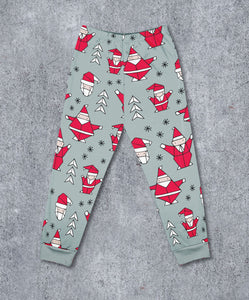 Geometric Christmas Santa Leggings
