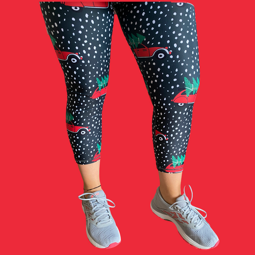 Christmas Cars Capri Women's Activewear Leggings