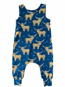 Teal Highland Cow Dungarees