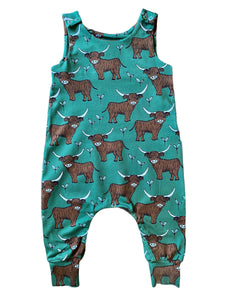 Green Highland Cow Dungarees