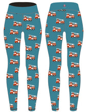 Load image into Gallery viewer, PREORDER Teal Fire Engine Womens Activewear Leggings Regular Length