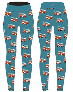 PREORDER Teal Fire Engine Womens Activewear Leggings Regular Length