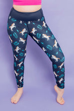 "Load image into Gallery viewer, Navy Unicorn Women's Activewear Leggings - Tall 33"" inside leg"
