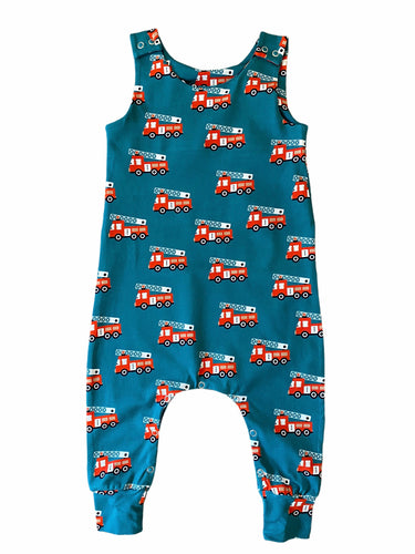 Teal Fire Engine Dungarees