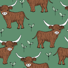 Load image into Gallery viewer, Green Highland Cow Dungarees