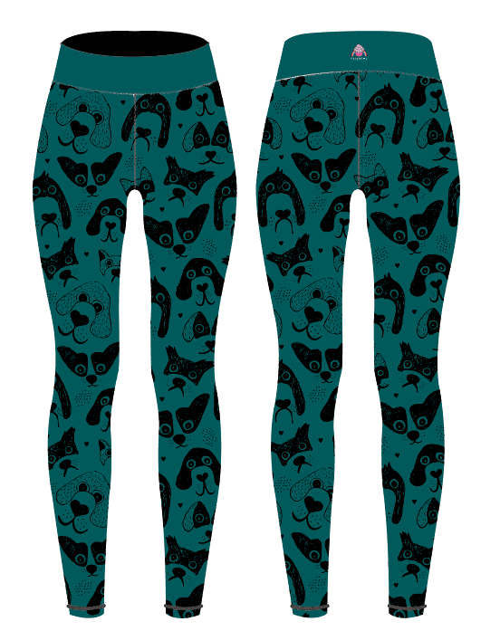 Teal Dogs Children's Active Leggings