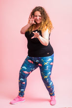 "Load image into Gallery viewer, Watercolour Dinosaur Women's Activewear Leggings - Tall 33"" inside leg"