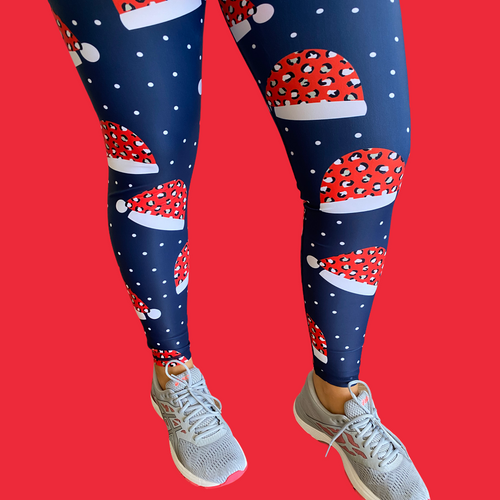 "Christmas Hat Women's Activewear Leggings - Tall 33"" inside leg"