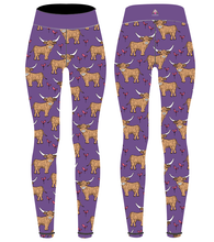 Load image into Gallery viewer, Purple Highland Cow Children's Active Leggings