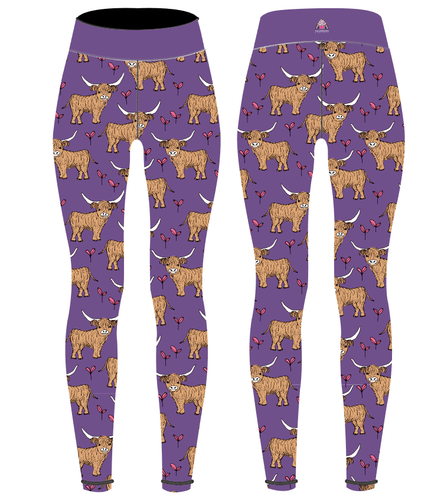 Purple Highland Cow Children's Active Leggings