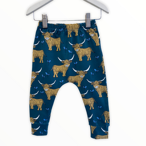 Teal Highland Cow Highland Leggings