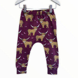 Burgundy Highland Cow Leggings