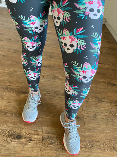 "Tropical Skull Activewear Leggings - Tall 33"" inside leg"