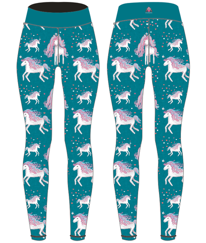Unicorns on Teal Women's Activewear Leggings Regular Length