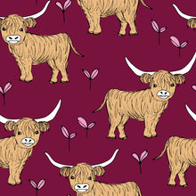 Load image into Gallery viewer, Burgundy Highland Cow Dungarees