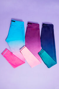 Blue/Pink Ombre Capri Women's Activewear Leggings
