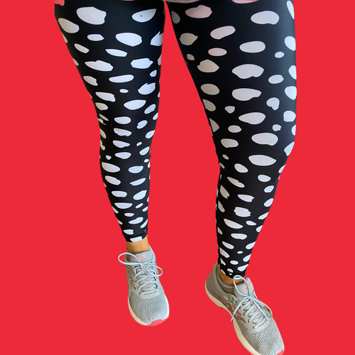 Black Monochrome Women's Activewear Leggings Regular Length