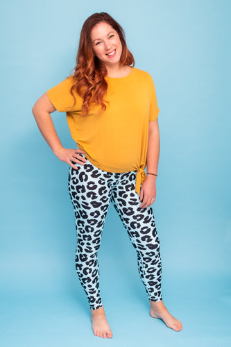 Minty Blue Leopard Women's Activewear Leggings Regular Length