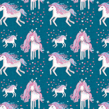 Load image into Gallery viewer, Unicorns on Teal Dungarees