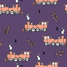 Load image into Gallery viewer, Purple Trains Dungarees - PLEASE READ BEFORE ORDERING