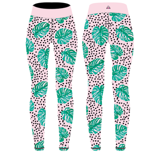Monstera Leaf Capri Women's Activewear Leggings